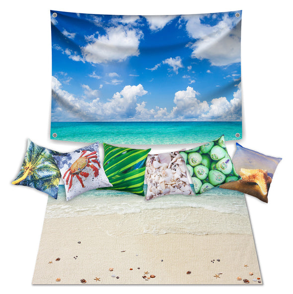 Beach Theme Set with Cushions - Inserts included