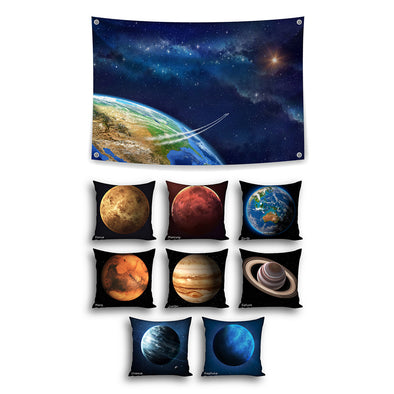 Space Planets Theme Set with Cushions - Inserts included