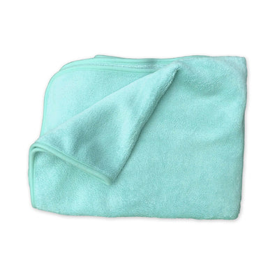Coral Fleece Cot Blanket - Plain Green
