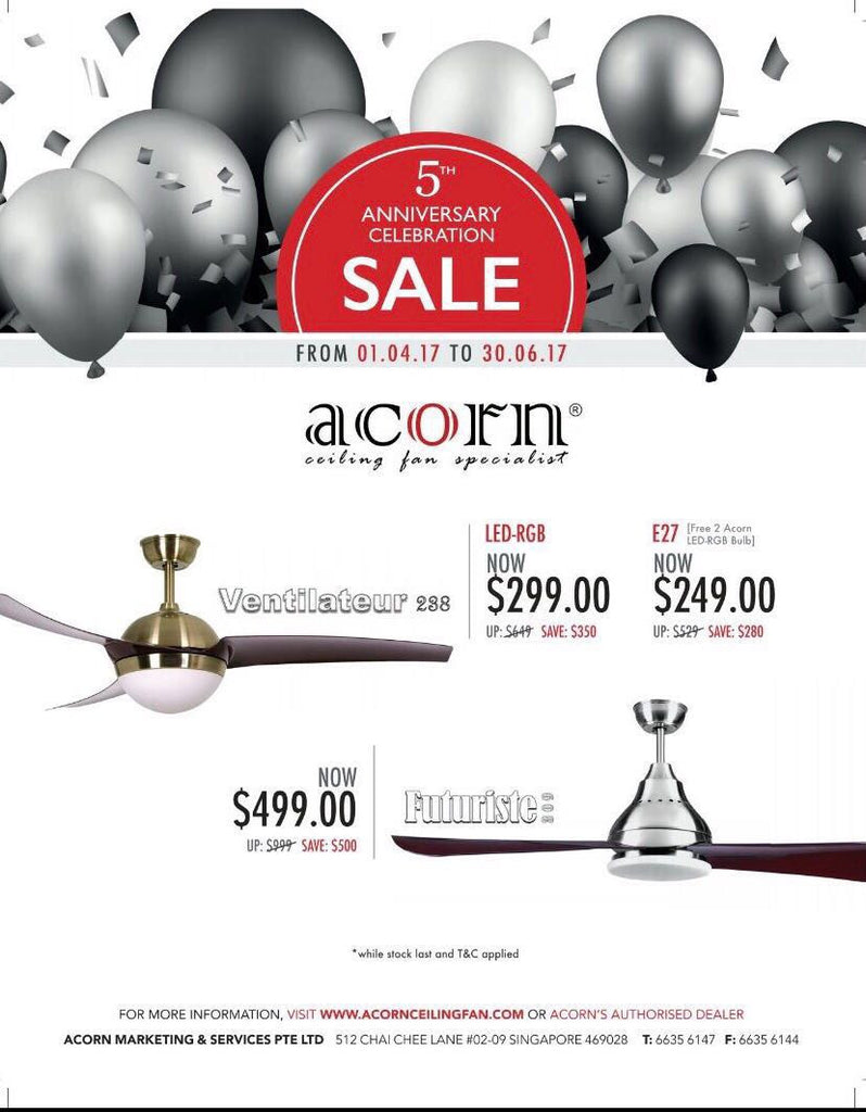 FOCUS DE LIGHTINGS SINGAPORE ACORN FANS PROMOTIONS 2017
