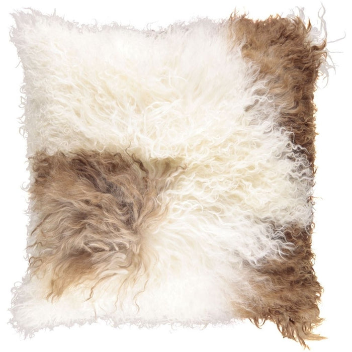NC Living Tibetan sheepskin Cushion | 40x40 cm. Cushions White/Brown Mix