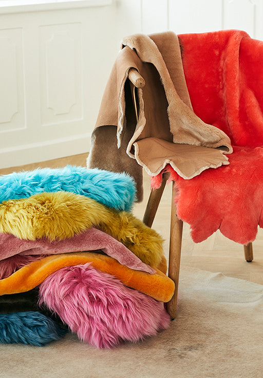 NC Living CORAL COLLECTION Sheepskin, Long-wool, Premium quality, New Zealand, 90 cm Skins Coral Blue