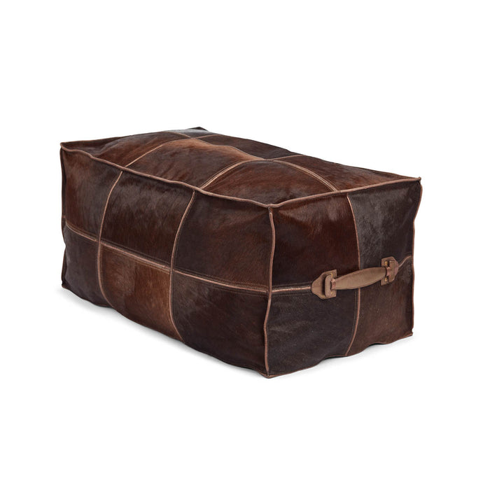 NC Living Pouf of Premium Quality Calf Leather w/Handle, Size 45x82x38 CM | Long Poufs Brown