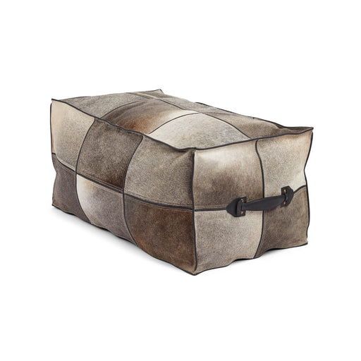 NC Living Pouf of Premium Quality Calf Leather w/Handle, Size 45x82x38 CM | Long Poufs Grau