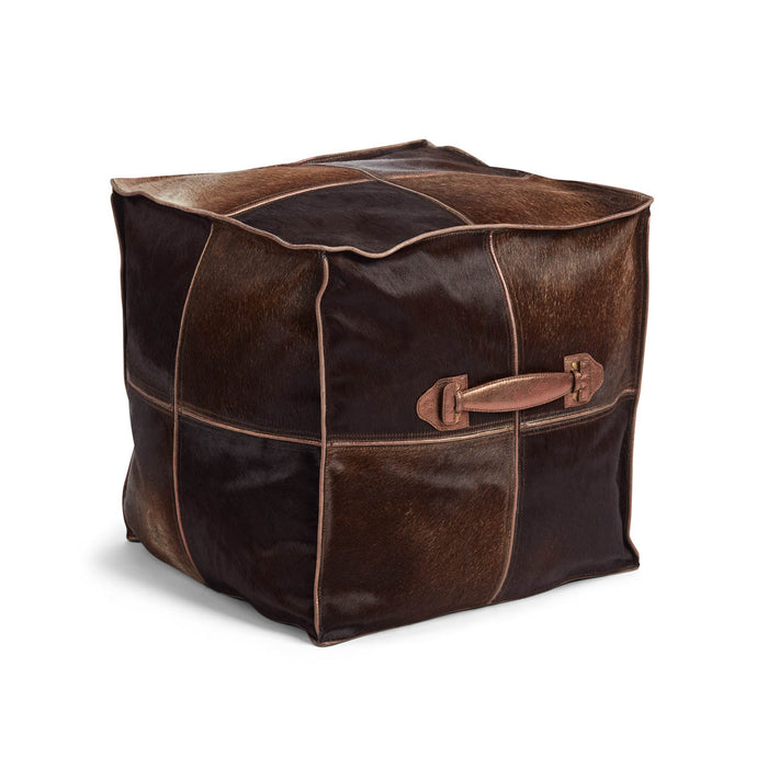 NC Living Pouf of Premium Quality Calf Leather w/Handle, Size 45x45x45 CM | Square Poufs Brown
