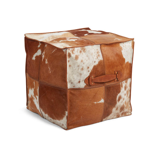 NC Living Pouf of Premium Quality Calf Leather w/Handle, Size 45x45x45 CM | Square Poufs Jersey