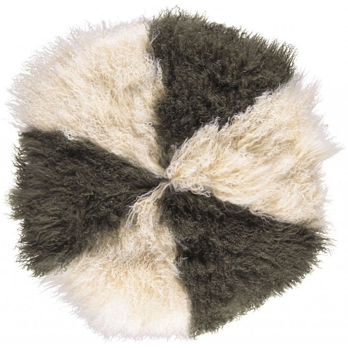 NC Living Tibetan Sheepskin Cushion | Cake Collection | Ø62 Cushions Arctic Sunrise/Hedge Green