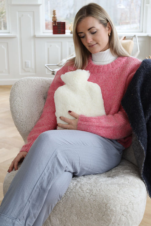NC Living Hot Water Bottle | New Zealand Sheepskin | Shortwool Curly Hot Water Bottle Ivory