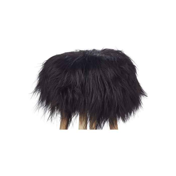NC Living Icelandic Longwool Sheepskin | Stool Cover Stool Black