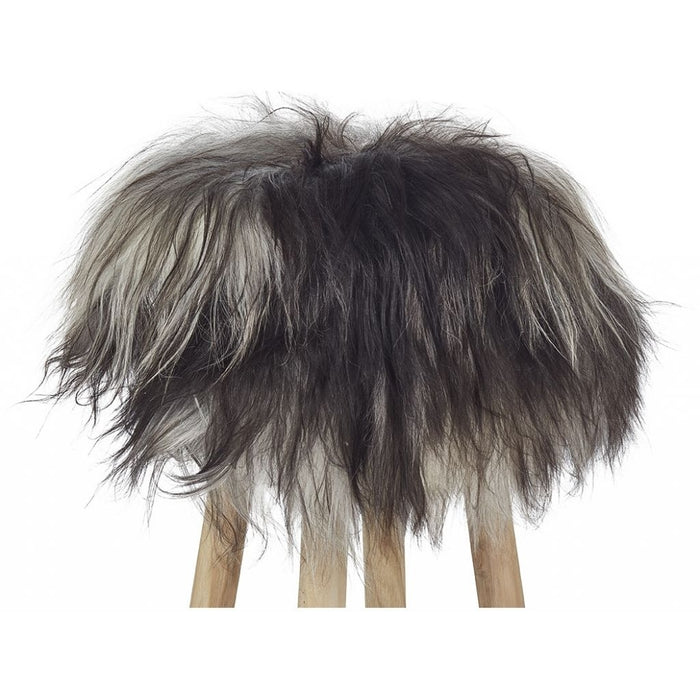 NC Living Icelandic Longwool Sheepskin | Stool Cover Stool Natural Grey