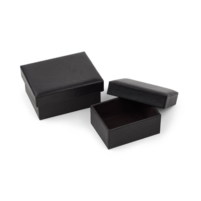 NC Living Leather Box. Square. Set of 2 pcs. Box Black