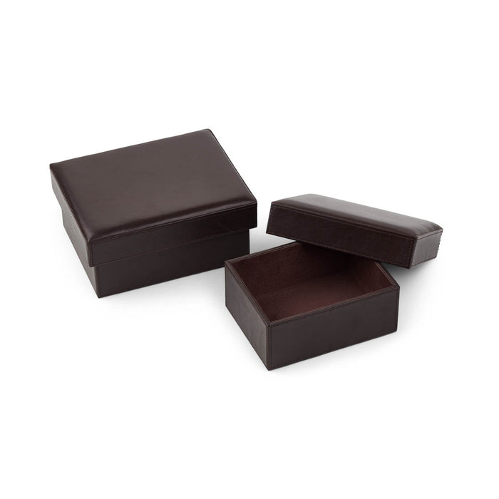 NC Living Leather Box. Square. Set of 2 pcs. Box Dark Brown