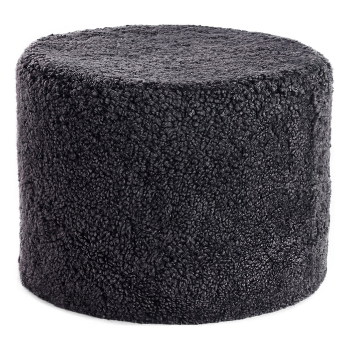 NC Living New Zealand Pouf | Shortwool curly | Cylinder | 41x31 cm. Poufs Anthracite