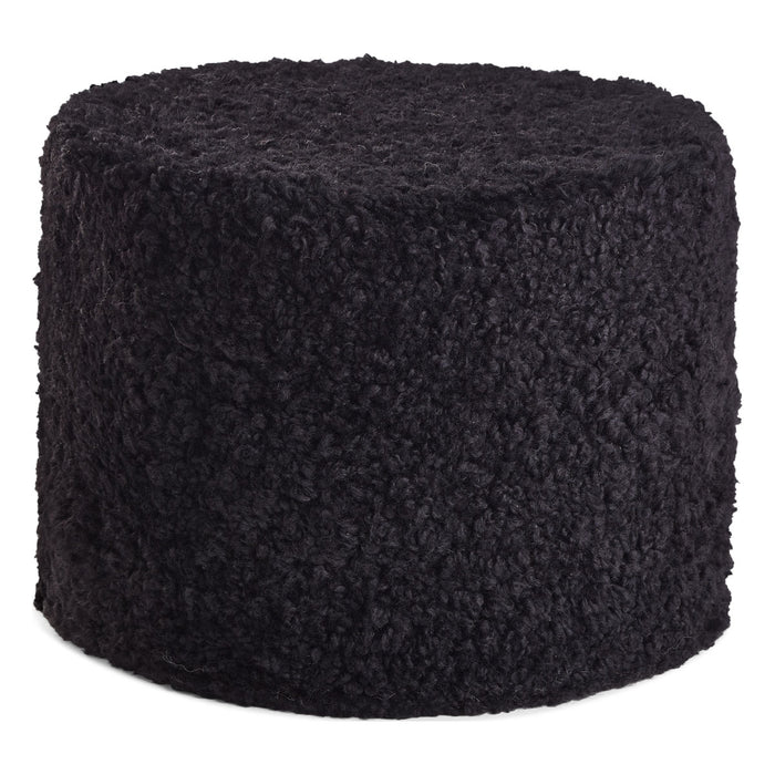 NC Living New Zealand Pouf | Shortwool curly | Cylinder | 41x31 cm. Poufs Black