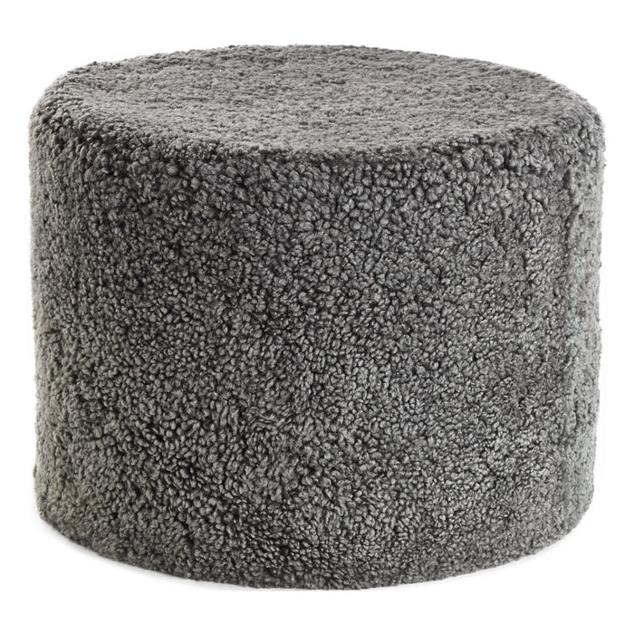 NC Living New Zealand Pouf | Shortwool curly | Cylinder | 41x31 cm. Poufs Graphite