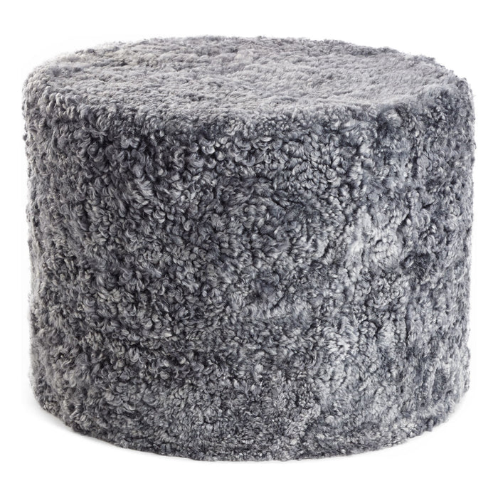 NC Living New Zealand pouf - Shortwool curly | Cylinder | 41x31 cm. Poufs Light Grey