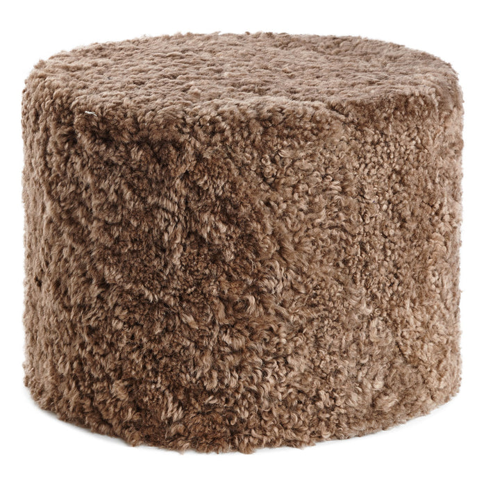 NC Living New Zealand pouf - Shortwool curly | Cylinder | 41x31 cm. Poufs Taupe