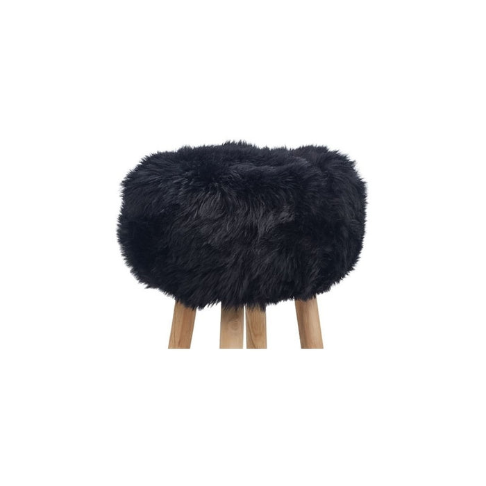 NC Living New Zealand Sheepskin | Stool Cover, D35 x H17 cm Stool Black