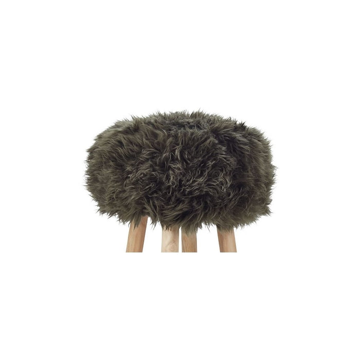 NC Living New Zealand Sheepskin | Stool Cover, D35 x H17 cm Stool Hedge Green