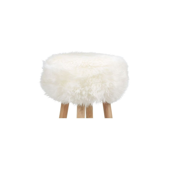NC Living New Zealand Sheepskin | Stool Cover, D35 x H17 cm Stool Ivory