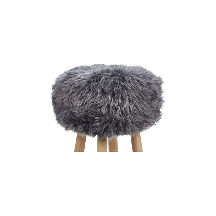 NC Living New Zealand Sheepskin | Stool Cover, D35 x H17 cm Stool Steel