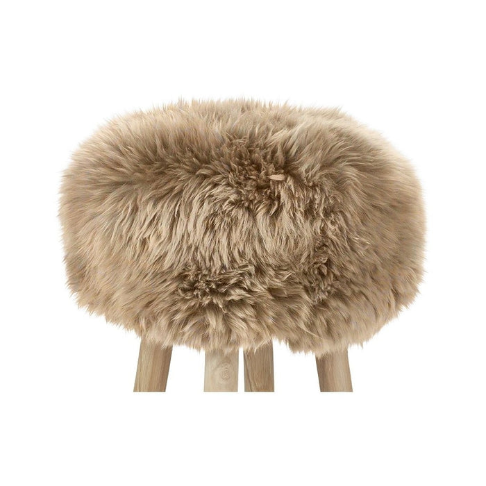 NC Living New Zealand Sheepskin | Stool Cover, D35 x H17 cm Stool Taupe