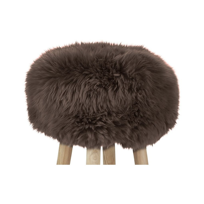 NC Living New Zealand Sheepskin | Stool Cover, D35 x H17 cm Stool Walnut