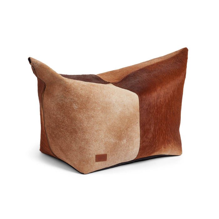 NC Living Pouf of Premium Quality Calf Leather, Size 92x38x40 CM | Small Poufs Brown