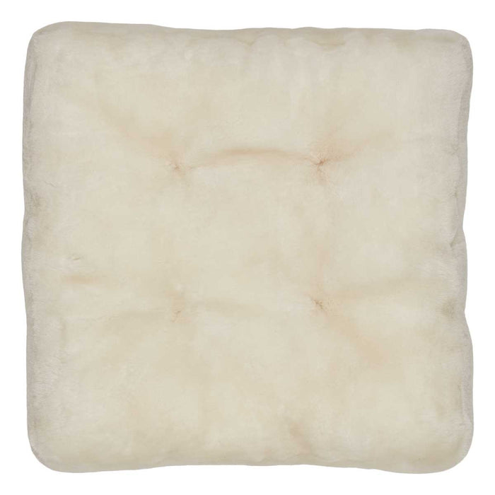 NC Living Premium Quality, New Zealand, Seat Cover, 12mm Moccasin, Calf leather backing, Size: 45x45x5 cm Seat Covers White