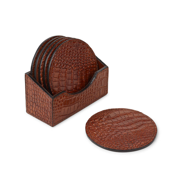 NC Living Round Croco Coaster of Premium Quality Calf Leather. D10 CM. Coaster Camel