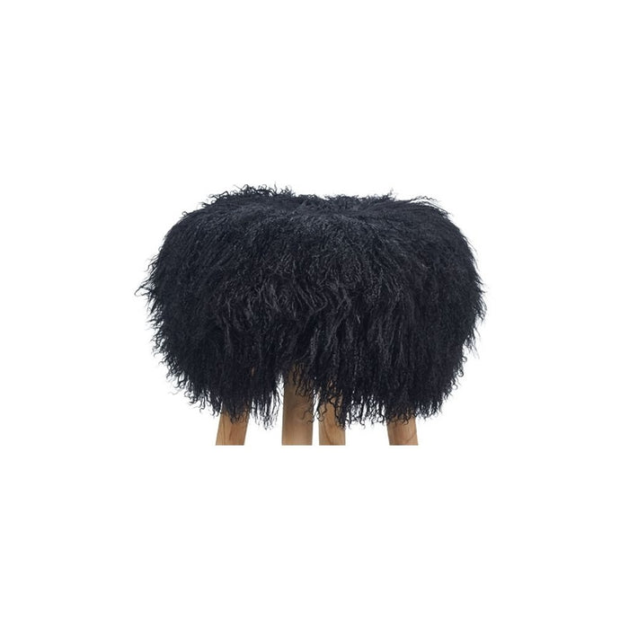 NC Living Tibetan Sheepskin | Stool Cover, D35 x H17 cm Stool Black