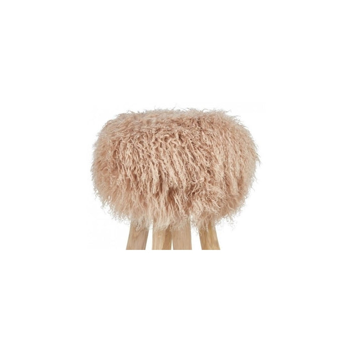NC Living Tibetan Sheepskin | Stool Cover, D35 x H17 cm Stool Warm Sand