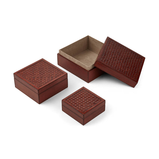 NC Living Woven Box. Square. Set of 3 pcs. Box Camel
