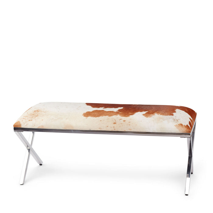NC Living Bench Cow Hide Bench Salt&pepper (brown/white)