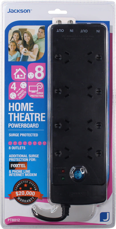 Jackson Phone and Aerial Surge Protected 8 Outlet Powerboard