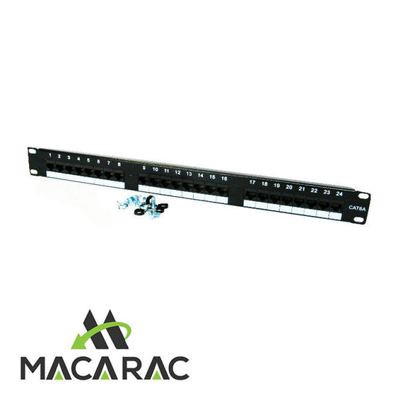 1U PATCH PANEL(CAT6a / RJ45 24 Port /P/C Black 19