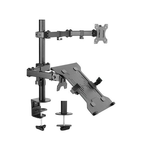 Brateck Economical Double Joint Articulating Steel Monitor Arm with Laptop Holder Fit Most 13