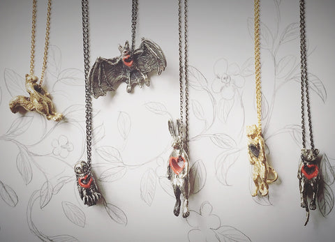 Stolen heart rabbit, bat, cat, mouse, owl, squirrel necklace