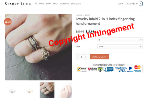 Jewelry inlaid 2-in-1 index finger ring hand ornament copyright infringement starry luck