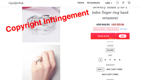Jewelry inlaid 2-in-1 index finger ring hand ornament copyright infringement