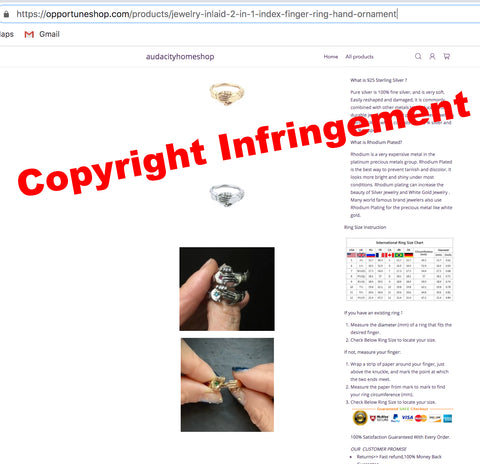 copyright infringement Jewelry inlaid 2-in-1 index finger ring hand ornament xshoppy audacityhomeshop opportuneshop