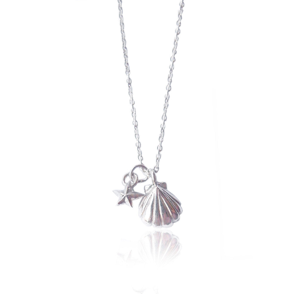 Shell and Tiny Star Necklace Silver Product Shot Main