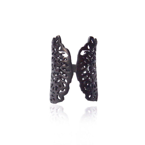 Black Coral Ring Silver Product Shot Main