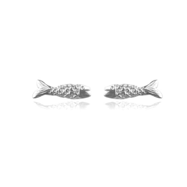 Micro Fish Earrings Silver Product Shot