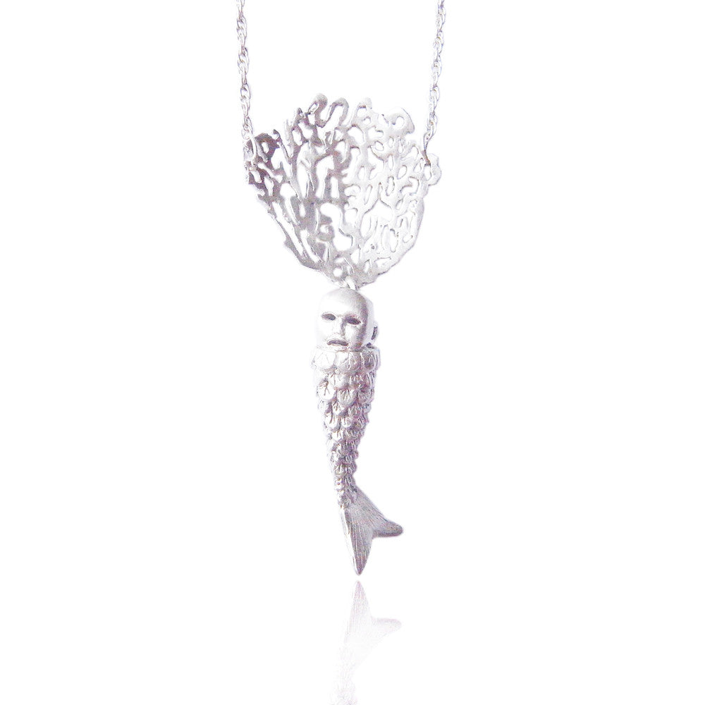 MOMOCREATURA Baby Mermaid and Coral Necklace Silver Product Shot Main