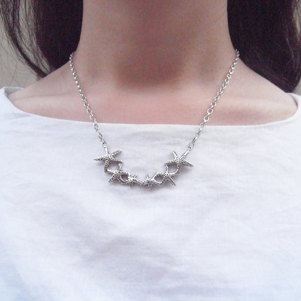 Starfish Necklace Silver on Model