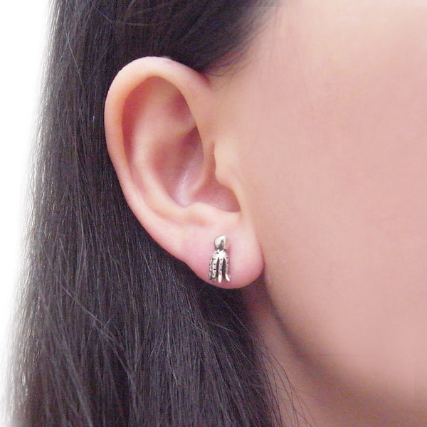 Octopus Stud Earrings Silver on Model