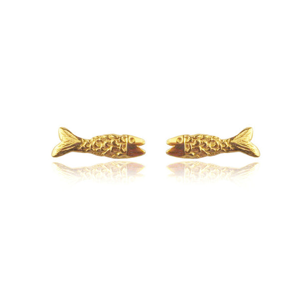 Micro Fish Earrings Gold Product Shot