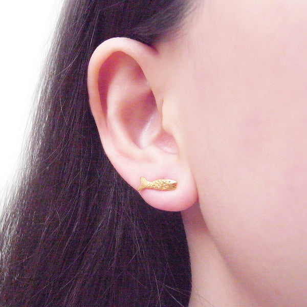 Micro Fish Earrings Gold on Model