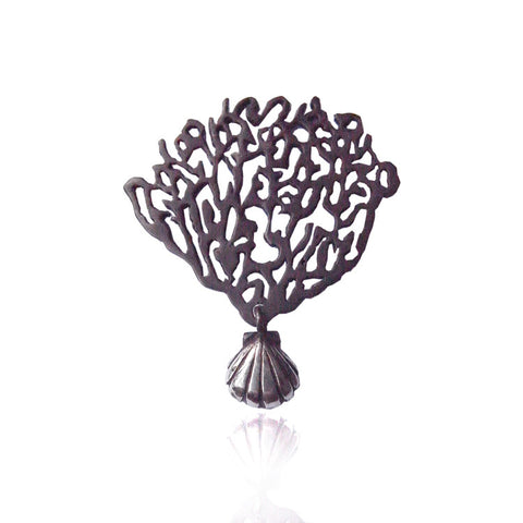 Black Coral & Shell Single Earring Silver Product Shot Main